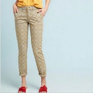 Anthro Chino | Relaxed Circle-Embroidered Pants 32
